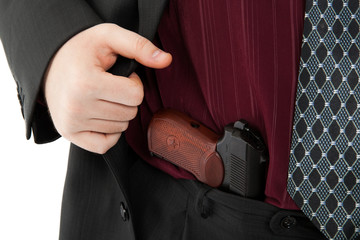 Makarov pistol in his pants