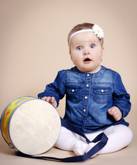 Little child with drum