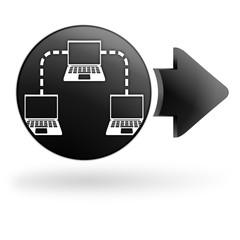réseau informatique sur bouton noir