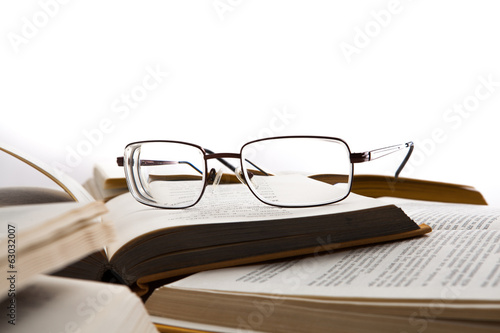 Eye glasses on the books