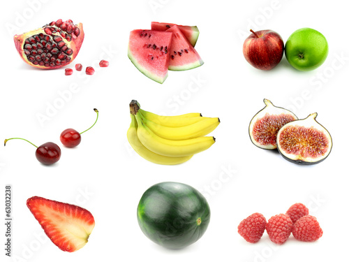Various fruits on white background.