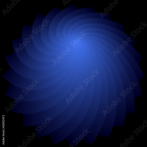 Rotation shape. Abstract deep blue backdrop.