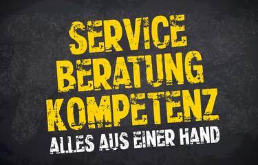 Kreidetafel mit Stempel Service, Beratung und Kompetenz