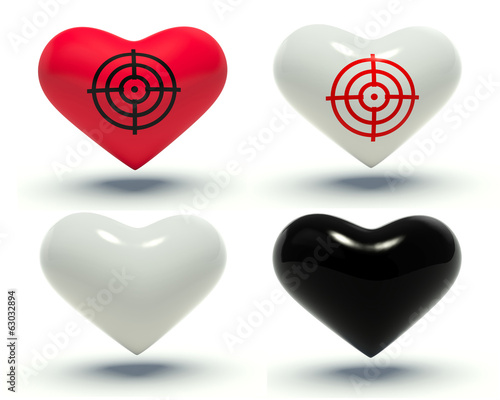 Set of hearts. 3d render