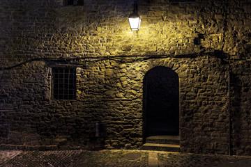 Dark street in an old village