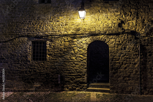 Dark street in an old village