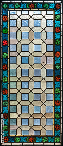 stained glass window of colored glass