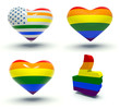 Set of hearts and thumbs up with rainbow colors.