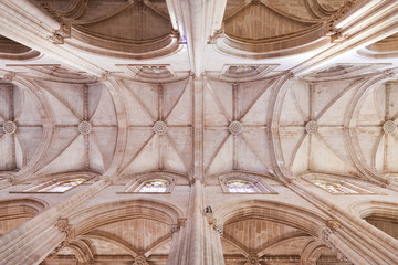 Batalha Monastery. Gothic ceiling and columns of the church