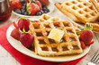 Homemade Belgian Waffles with Fruit - 63034075