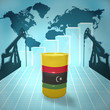 Oil barrel with Libyan flag