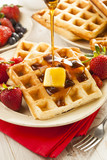 Fototapety Homemade Belgian Waffles with Fruit