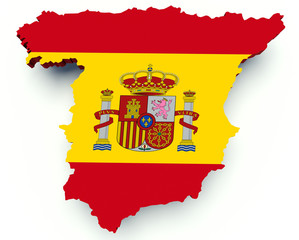 Map of Spain with flag colors. 3d render