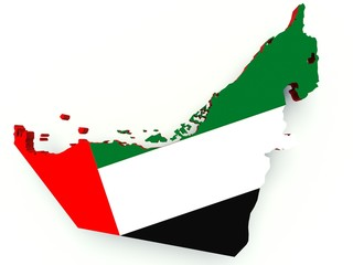 Map of United Arab Emirates with flag colors. 3d render