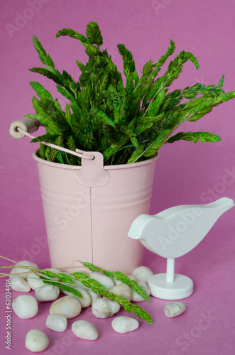 spring still life with a bouquet of grass, portrait format