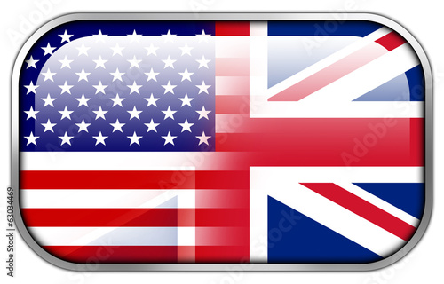 USA and UK Flag rectangle glossy button