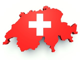 Map of Switzerland with flag colors. 3d render
