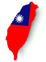 Map of Taiwan with flag colors. 3d render