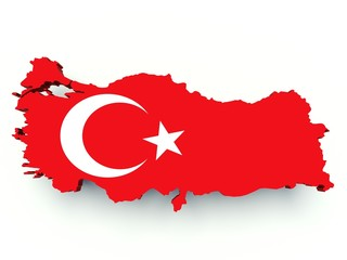 Map of Turkey with flag colors. 3d render