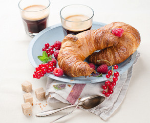 breakfast with croissants,coffee
