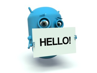 Cute blue robot with message board 'Hello'