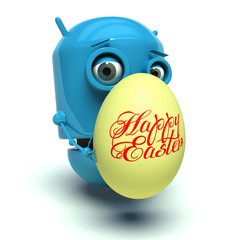Cute blue robot holding an easter egg. 3d render.