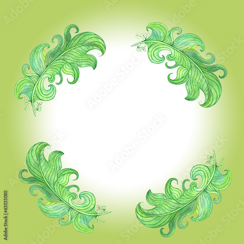 Green decoration in simple and cute ornament. Watercolor drawing