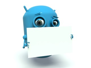 Cute robot holding a blank message board.