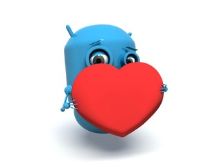 Cute blue robot holding a red heart.