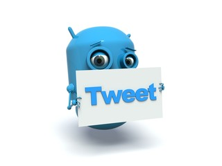 Cute blue robot with message board 'tweet'.