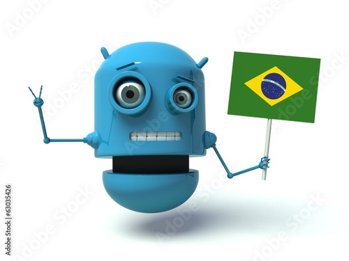 Blue robot with Brazil flag. 3d render.