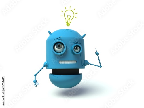 Cute blue robot having an idea. 3d render.