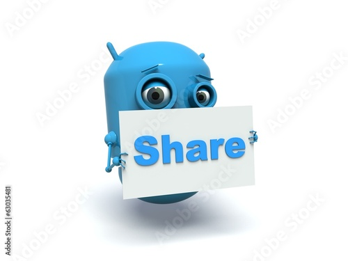 Cute blue robot with message board 'Share'.