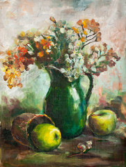 Oil painting. Still life with two apples and jug