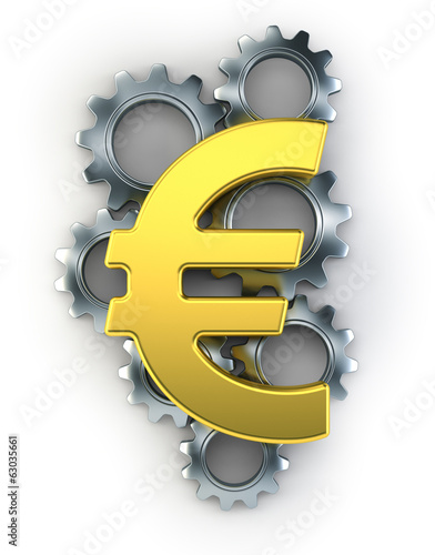 Euro sign on top of cogs
