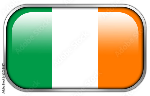Ireland Flag rectangle glossy button