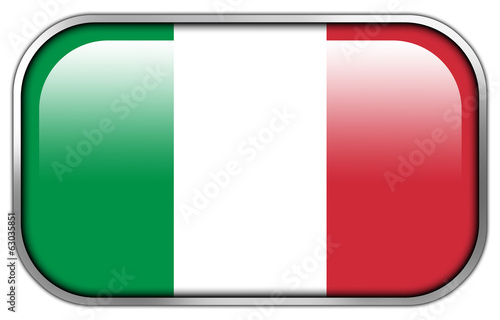Italy Flag rectangle glossy button