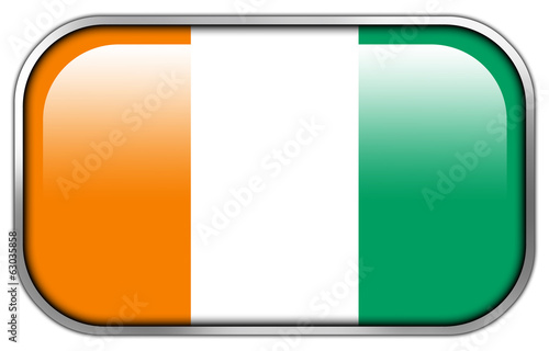 Ivory Coast Flag rectangle glossy button