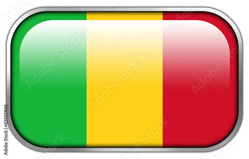 Mali Flag rectangle glossy button