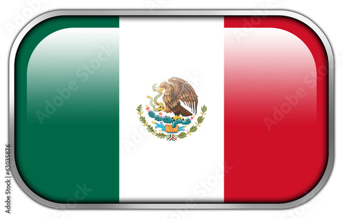 Mexico Flag rectangle glossy button