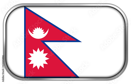 Nepal Flag rectangle glossy button