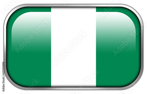 Nigeria Flag rectangle glossy button