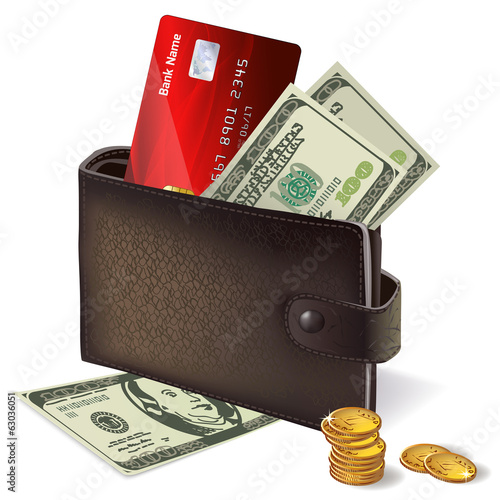 Wallet with credit card banknotes and coins