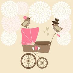 Cute baby shower invitation, birthday card, vector