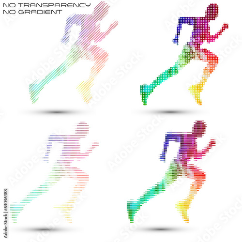 Running sportsman, pixel work vector illustrations