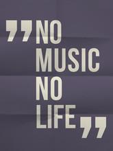 """""""Pas de music no life"""" citation sur plié en huit fond de papier"""