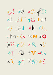 Calligraphic hand written uppercase and lowercase alphabet