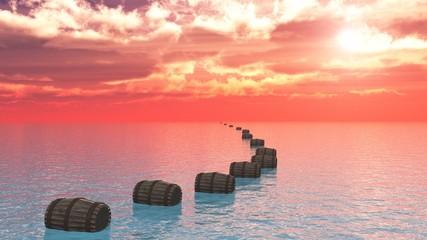 tonneaux sur la mer
