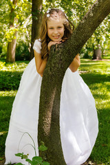 Girl in her First Communion Day