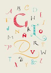 Calligraphic hand written uppercase alphabet